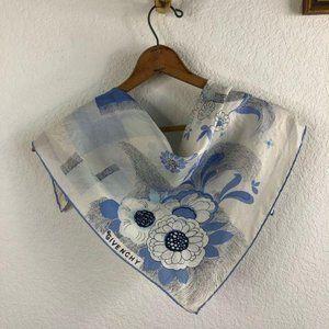 Givenchy Silk Rolled Hem Floral Logo Color Block S